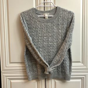 EUC H&M grey cable knit sweater